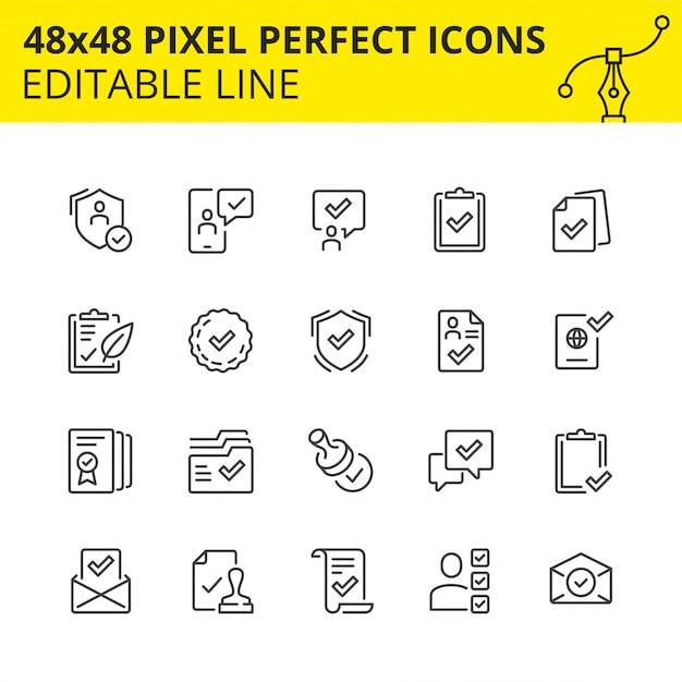Eenvoudige set van pictogrammen voor het goedkeuringsproces in het bedrijfsleven en het markeren van verschillende mijlpalen als doorgegeven. pixel perfect pictogram, lijn. . Premium Vector