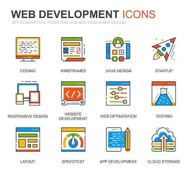 Eenvoudige set web disign en development line icons voor website Premium Vector