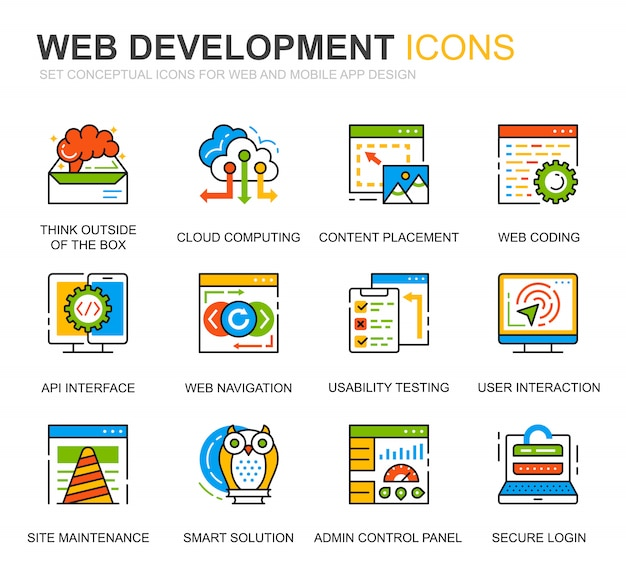 Eenvoudige set web disign en development line icons voor website Premium Vector