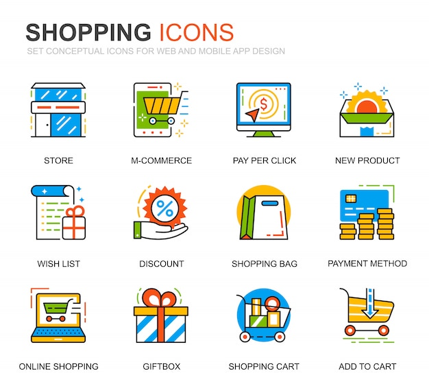Eenvoudige set winkelen en e-commerce lijn iconen voor website Premium Vector
