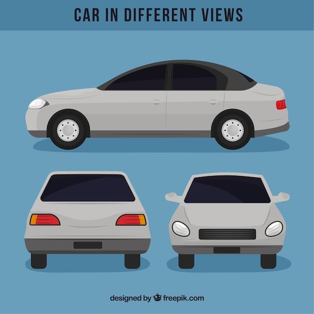 Eenvoudige witte auto in verschillende standpunten Gratis Vector