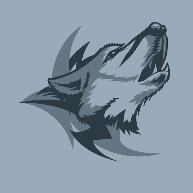 Eenzame huilende wolf en tribal teken achter Premium Vector