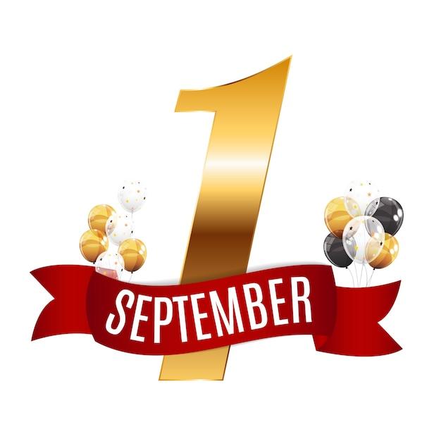 Eerste 1 september Premium Vector