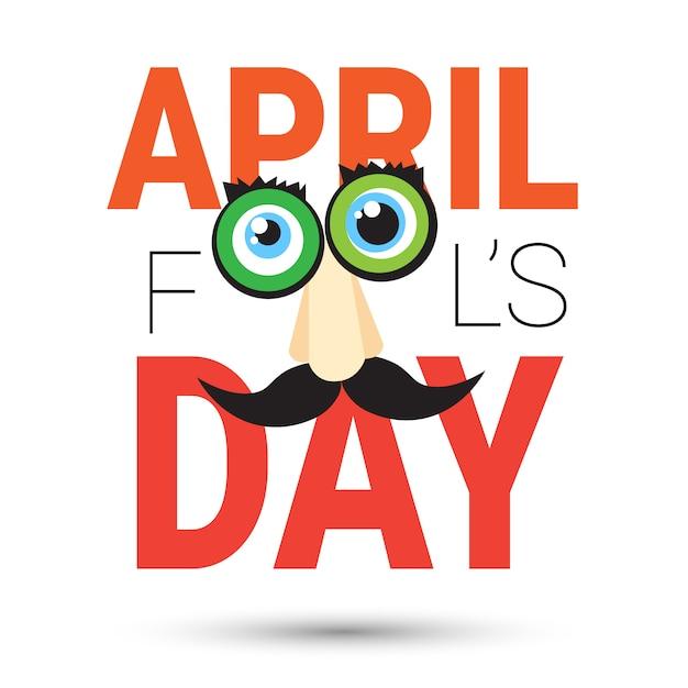 Eerste april fool day happy holiday wenskaart Premium Vector