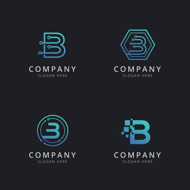 Eerste b-logo met technologie-elementen in blauwe kleur Premium Vector