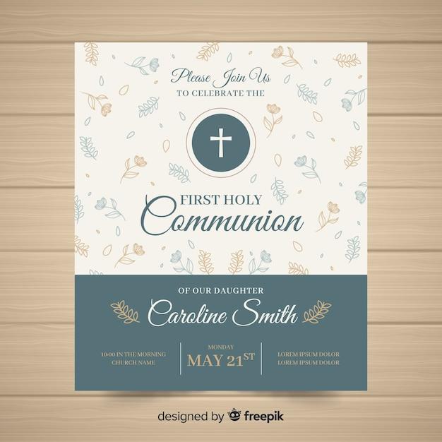 Eerste communie uitnodigingssjabloon Gratis Vector