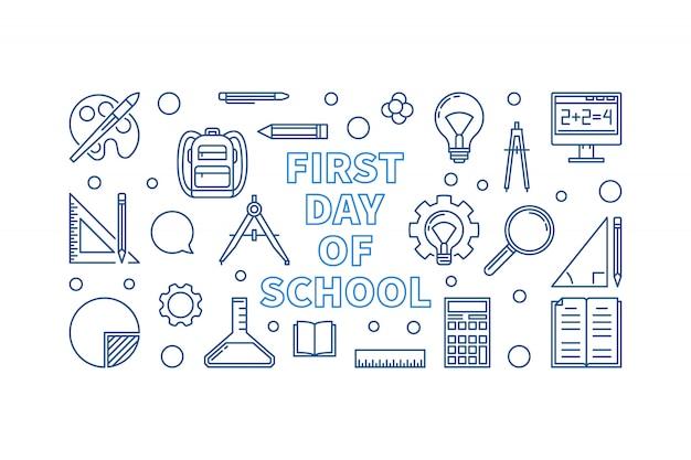 Eerste dag van school concept lineaire vector banner Premium Vector