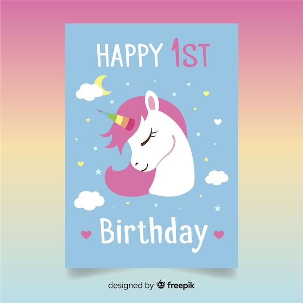 Eerste de uitnodigingskaart van de verjaardagspartij Gratis Vector