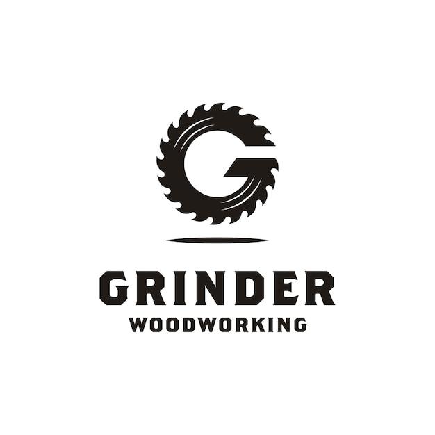 Eerste g grinder voor logoontwerp voor houtbewerking of timmerwerk Premium Vector