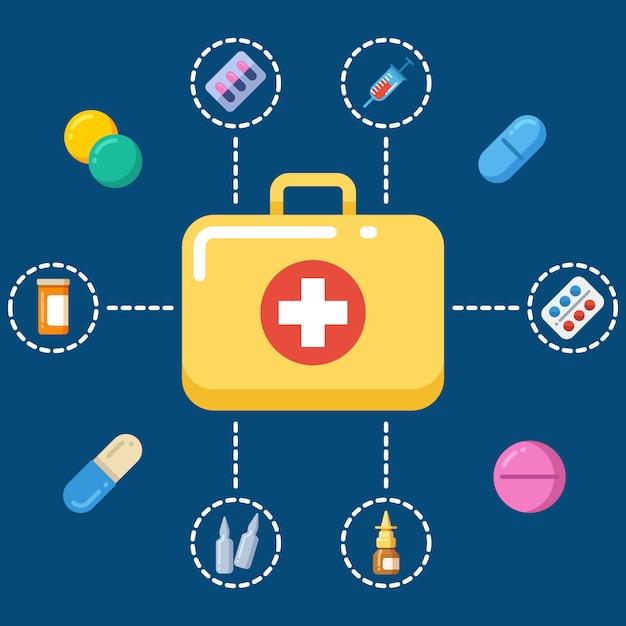 Eerste hulp kit concept - geneeskunde pictogrammen instellen Premium Vector