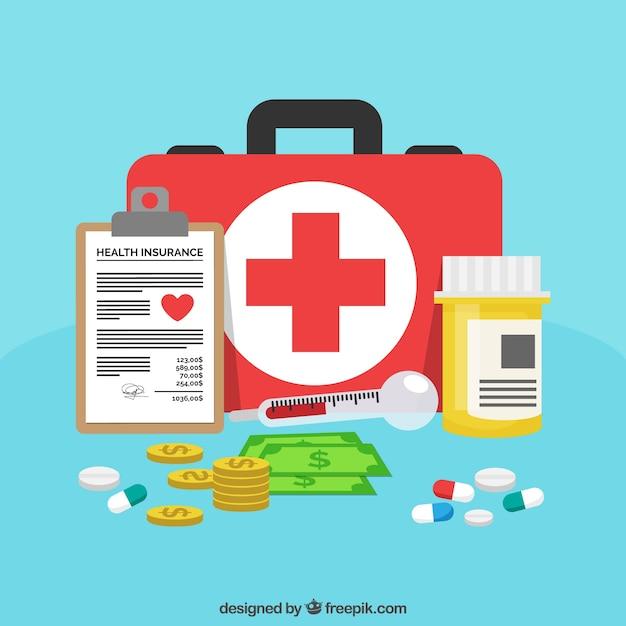 Eerste hulp kit, pillen, geld en klembord Gratis Vector