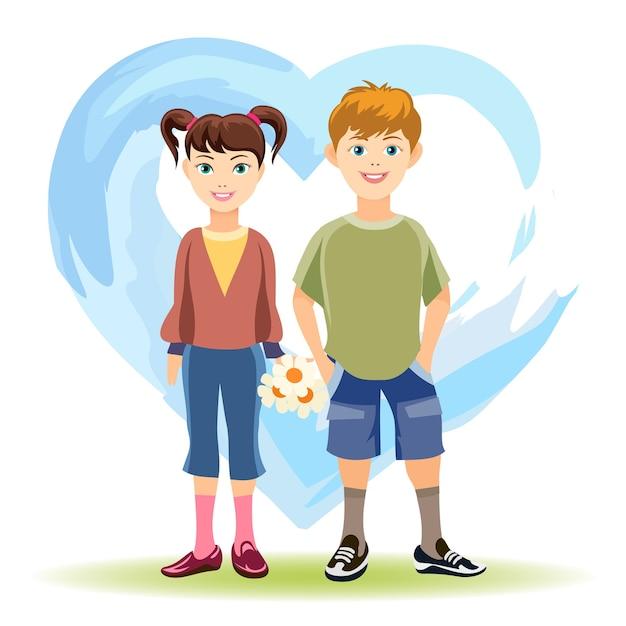 Eerste liefdesconcept. jongen en meisje met bloemen op achtergrond van blauw hart Gratis Vector