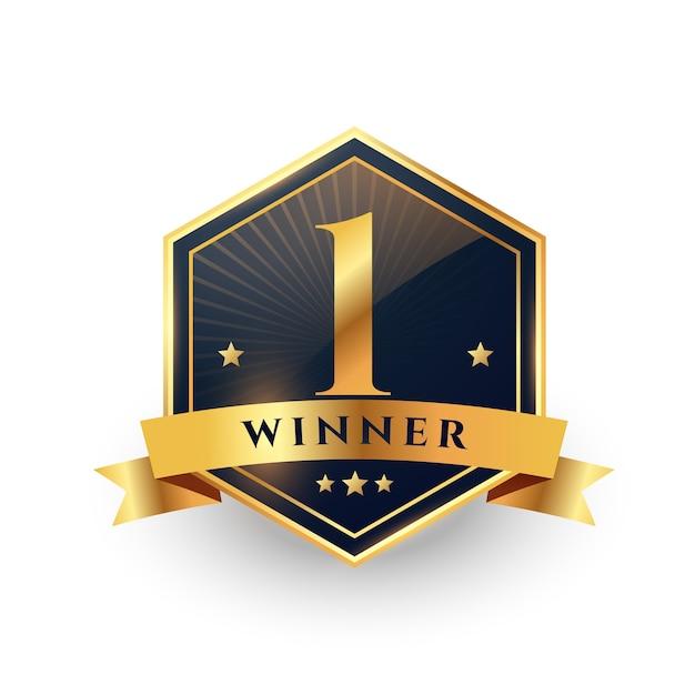 Eerste plaats nummer één winnaar gouden labelontwerp Gratis Vector