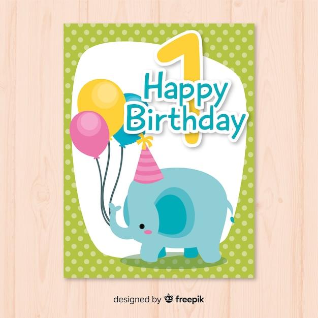 Eerste Verjaardag Olifant Met Ballonnen Groet Vector Gratis Download