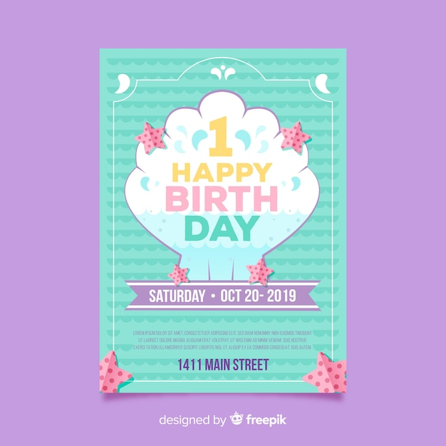 Eerste verjaardagshell kaart Gratis Vector