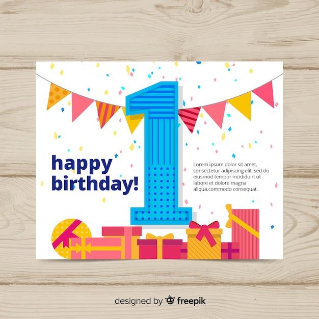 Eerste verjaardagskaart Gratis Vector