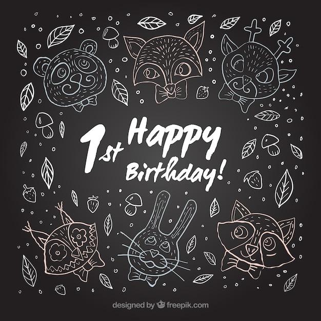 Eerste verjaardagskrijtbord Gratis Vector