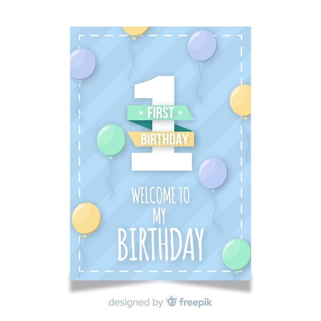 Eerste verjaardagsuitnodigingskaart Premium Vector