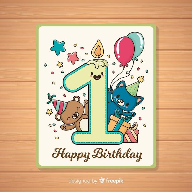 Eerste verjaardagsuitnodigingskaart Gratis Vector