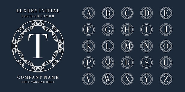 Eersteklas logo-ontwerp met bloemenframe Premium Vector
