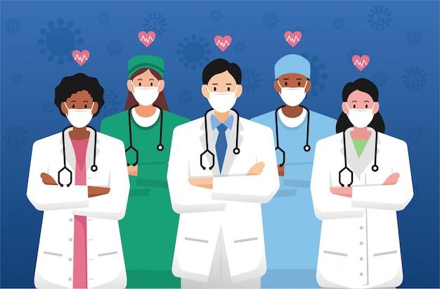 Eerstelijns gezondheidswerkers groep arts en medisch personeel Premium Vector