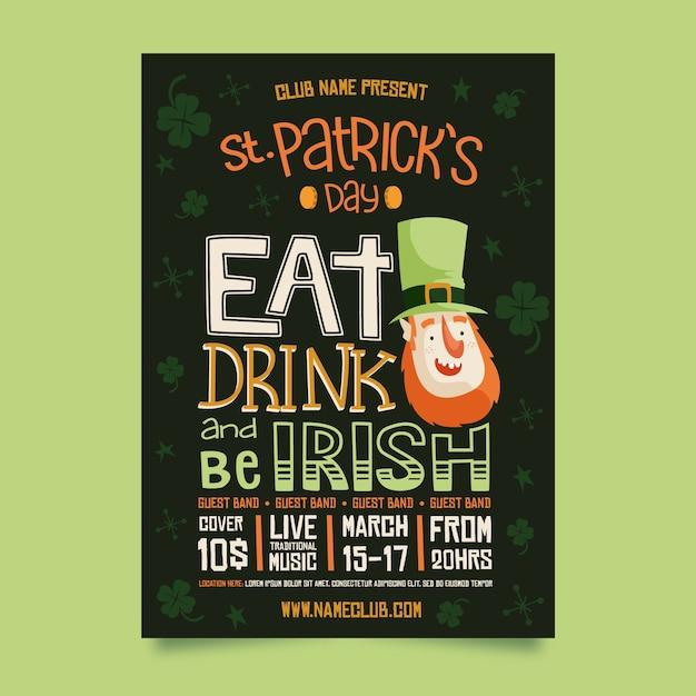 Eet drinken en wees iers st. patrick's day poster Gratis Vector