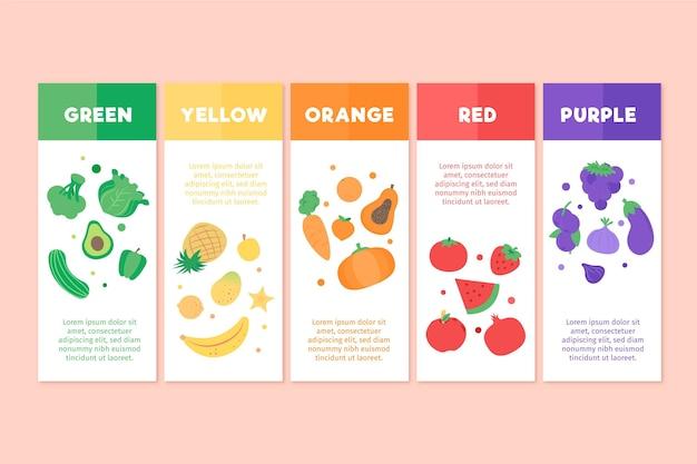Eet een regenboog infographic sjabloon Gratis Vector