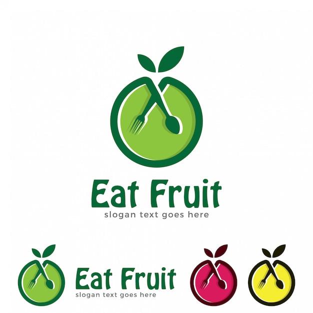 Eet fruitlogo ontwerp Premium Vector
