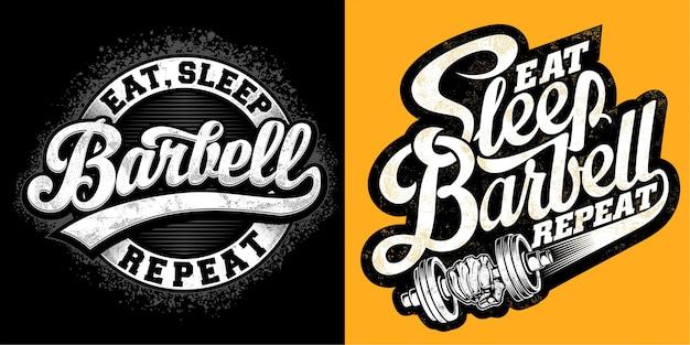 Eet, slaap, barbell, herhaal Premium Vector