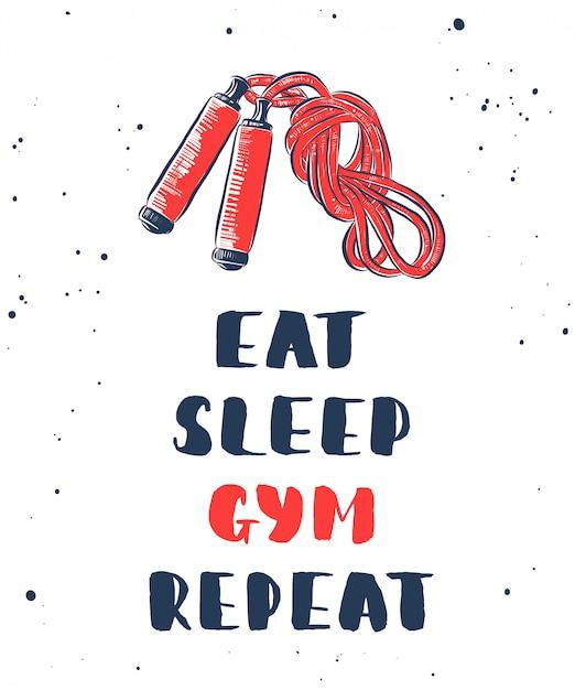 Eet, slaap, gym, herhaal met schets van springtouw Premium Vector