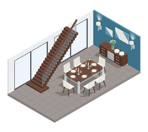 Eetkamer isometrisch concept met tredenlijst en stoelen Gratis Vector
