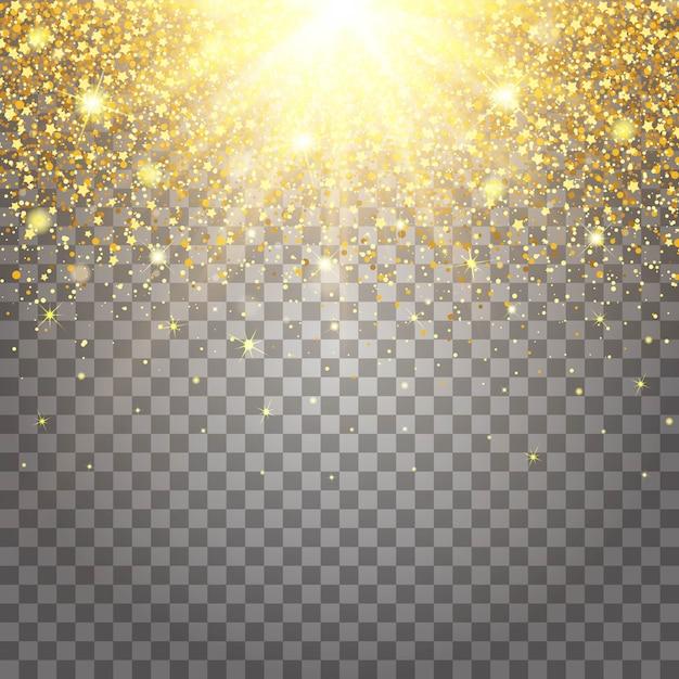 Effect van vliegende delen goud glitter luxe Premium Vector