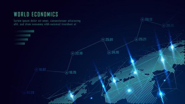 Effectenbeurs of forex handelgrafiek in futuristisch concept Premium Vector