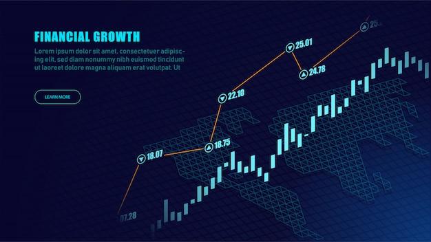 Effectenbeurs of forex handelgrafiek in grafisch concept Premium Vector