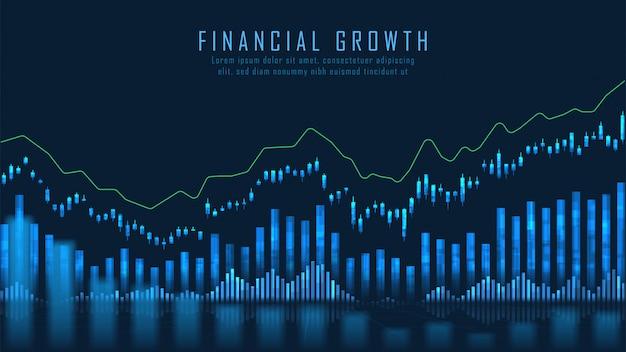 Effectenbeurs of forex trading grafiek concept Premium Vector