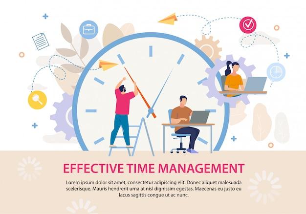 Effectief tijdmanagement advertentietekstposter Premium Vector