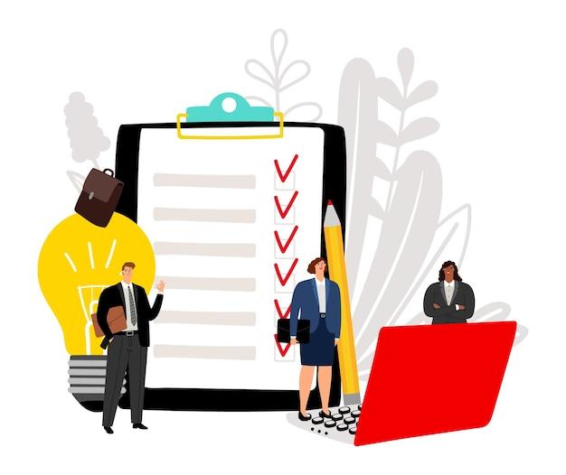 Effectief zakelijk team. projectuitvoering, zakelijk succes vectorillustratie. gelukkig platte stripfiguren Premium Vector