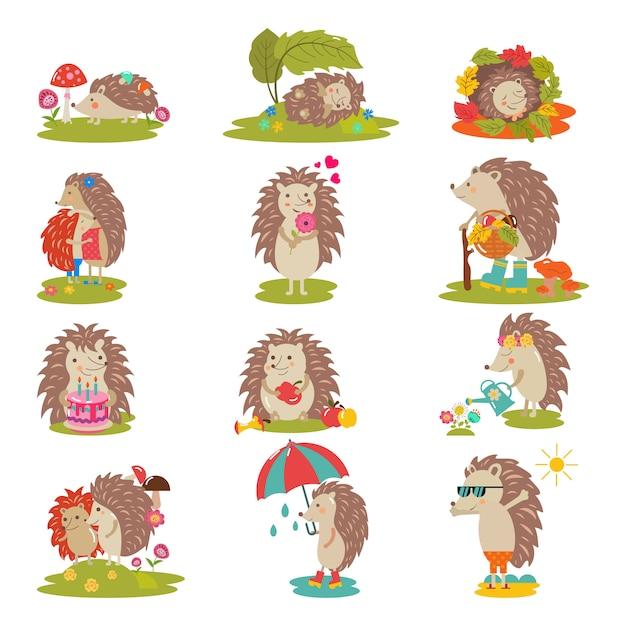 Egel vector cartoon stekelige dierlijk karakter kind met liefde hart in natuur wildlife illustratie set van egel-tenrec slapen of spelen in bos geïsoleerd. Premium Vector