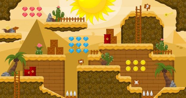Egypt desert game tileset Premium Vector