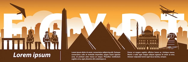 Egypte beroemde landmark silhouet stijl Premium Vector