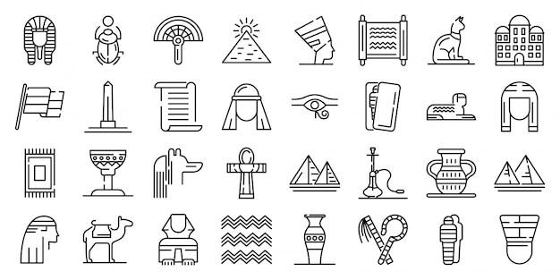 Egypte iconen set, kaderstijl Premium Vector