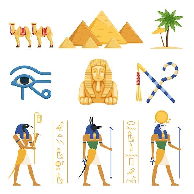 Egypte ingesteld, egyptische oude symbolen van de macht van farao's en goden kleurrijke illustraties op een witte achtergrond Premium Vector