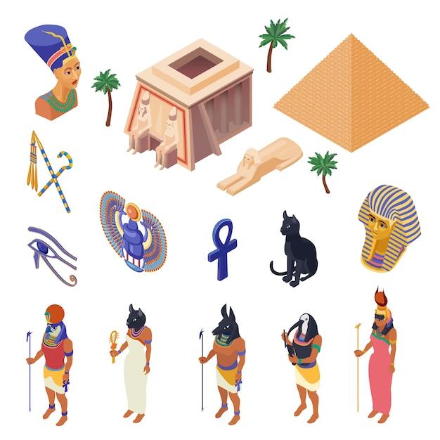 Egypte isometrische set Gratis Vector