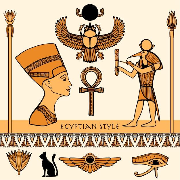 Egypte kleurenset Premium Vector