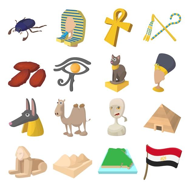 Egypte pictogrammen in cartoon stijl voor web en mobiele apparaten Premium Vector