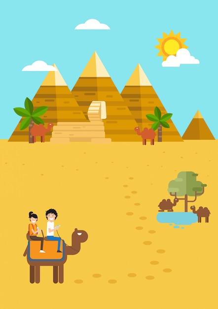 Egypte reizen en toerisme, tijd om te reizen. illustratie Premium Vector