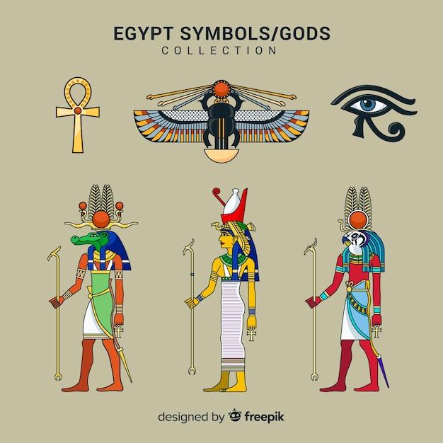 Egypte symbolen en goden collectie Gratis Vector