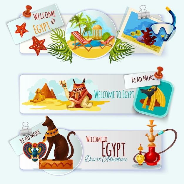Egypte toeristische banner set Gratis Vector