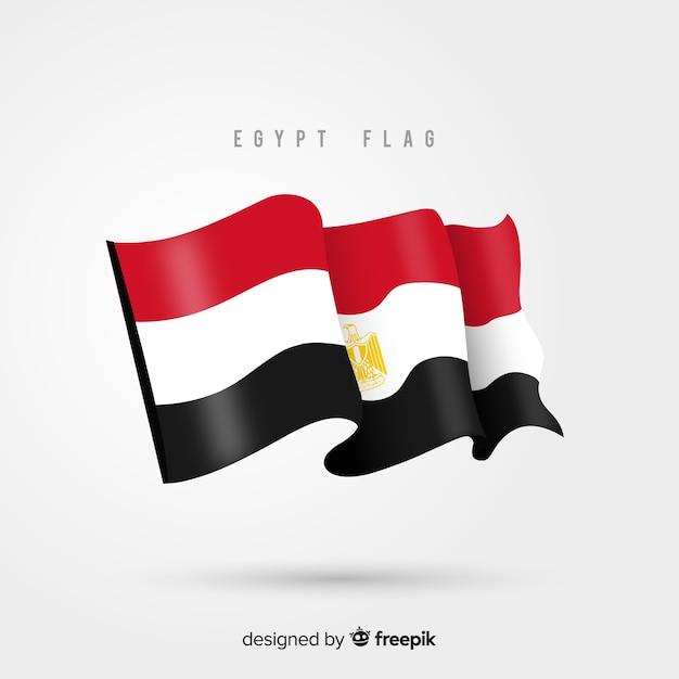 Egypte vlag zwaaien in platte ontwerp Gratis Vector