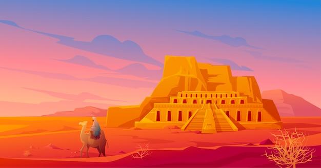 Egypte woestijn met hatshepsut tempel en kameel Gratis Vector
